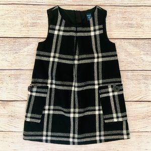 Baby Gap 2T Black Grey Plaid Wool Jumper